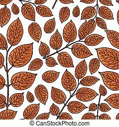 Seamless pattern of beautiful brown birch, honeysuckle leaves, twig, branches, sketch style vector illustration on white background. Hand drawn honeysuckle twig seamless pattern