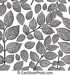 Seamless pattern of birch, honeysuckle grey leaves