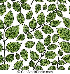 Seamless pattern of birch, honeysuckle leaves