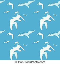 Seamless pattern of bird on the blue
