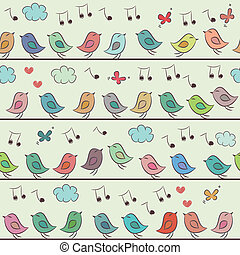 Seamless pattern of colorful cartoon birds, clouds and butterflies.
