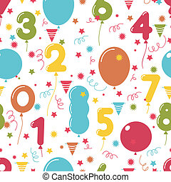 Seamless pattern of birthday party balloons - Seamless...