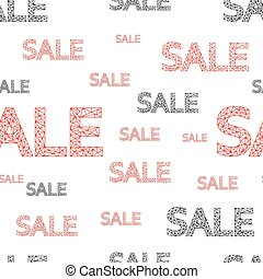 Seamless pattern of black and red discount words, on white background. Vector.