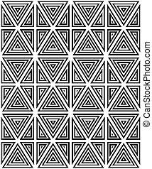 Seamless pattern of black and white figures.
