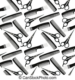 Seamless pattern of black-and-white hair-dressing tools - ...