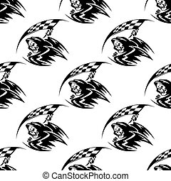 Seamless pattern of black death with scythe