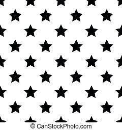 Seamless pattern of black five-pointed stars on white background. Vector illustration