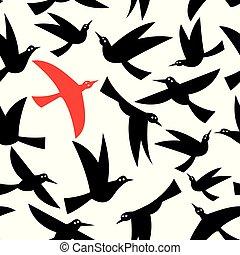 Seamless pattern of black flying birds