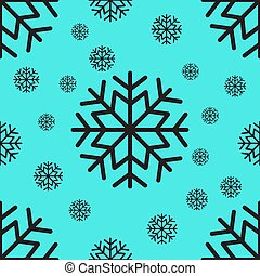 Seamless pattern of black snowflakes on a light background