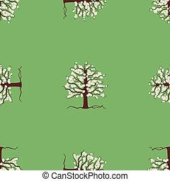 Seamless pattern of blooming apple tree in spring