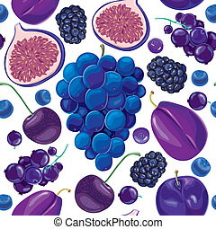 Seamless pattern of blue and lilac fruits