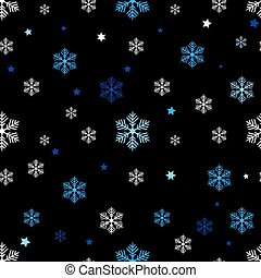Seamless pattern of blue and white snowflakes on a black background eps10