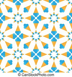 seamless pattern of blue ice cream cone on white background. Vector image