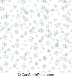 Seamless pattern of blue snowflakes on a white background