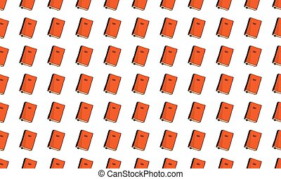 Seamless pattern of books with bookmarks on a white background. Vector.