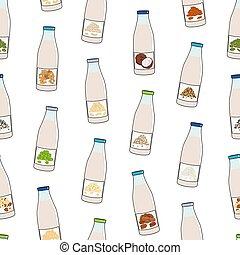Seamless pattern of bottles with plant-based milk. Vegan milk in glass bottles. Almond, soy, rice, coconut, cashew, oat, flax, walnut, pea milk. Milk alternatives. Hand drawn vector illustration.