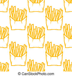 Seamless pattern of boxes of French fries