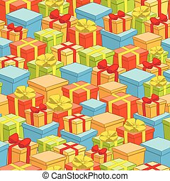 seamless pattern of boxes with gifts - holiday vector