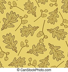 seamless pattern of branches with acorns and oak leaves
