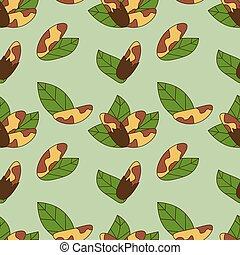 Seamless pattern of brazil nut in cartoon style