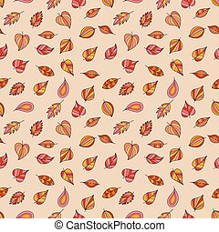 Seamless Pattern of Bright Autumn Leaves on Beige Backdrop.