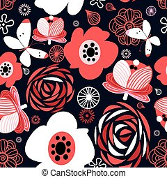 Seamless pattern of bright flowers - Graphic seamless...