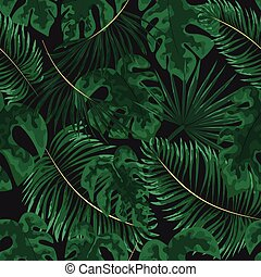 seamless pattern of bright green tropical leaves on grey background. Tropical palm leaves, jungle leaves seamless vector floral pattern background.