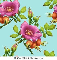 seamless pattern of bright wild rose