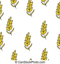 Seamless pattern of bright yellow spikelets on a white background