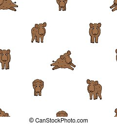 Seamless pattern of brown vector outline cute cartoon boar in different poses. Fluffy animal stand, run, is happy, is angry. Front side view. Doodle isolated illustration on white background.