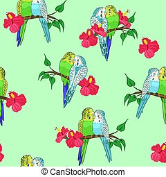 Seamless pattern of budgies sitting on branches. Vector graphics.