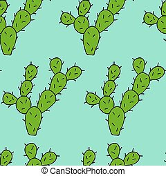 Seamless pattern of Cactus vector doodle cartoon Hand drawn illustration