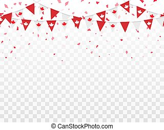 Seamless pattern of Canada flags, confetti