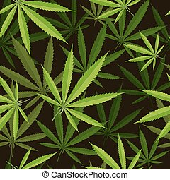 Seamless pattern of cannabis leaf