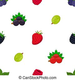Seamless pattern of cartoon berries. Raspberry, blackberry, gooseberry, red currant