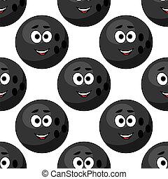 Seamless pattern of cartoon bowling balls