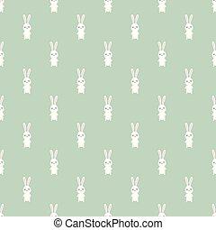 Seamless pattern of cartoon bunny