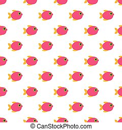Seamless pattern of cartoon colorful fishes.