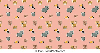 Seamless pattern of cartoon cute leopards, rainbow toucans, spider monkeys, and their faces with white outlines like stickers on a pink background. Digital paper. Vector.