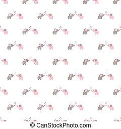 Seamless pattern of cartoon elephants