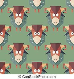 Seamless pattern of cartoon funny sheeps - Seamless pattern...