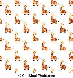 Seamless pattern of cartoon giraffe