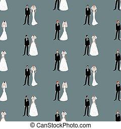 Seamless pattern of cartoon newlyweds