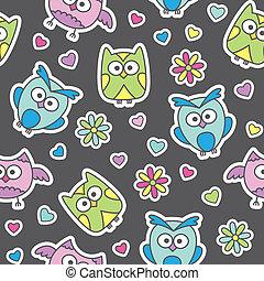 pattern of cartoon owls