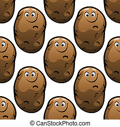 Seamless pattern of cartoon potatoes - Seamless pattern of...