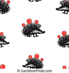 Seamless pattern of cartoon prickly hedgehog with apples
