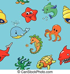 seamless pattern of cartoon sea creatures, vector
