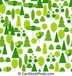 Seamless pattern of cartoon trees on a white background. Vector illustration