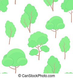 Seamless Pattern of cartoon Trees paper cut trendy craft style isolated on white background. Tree, Hedge and Bush elements for seasonal cards, web, posters, banners.