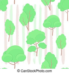 Seamless Pattern of cartoon Trees paper cut trendy craft style on hand drawn ink backdrop. Tree, Hedge and Bush elements for seasonal cards, web, posters, banners